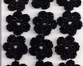 Free Shipping Lot of 12 Black Crochet Flowers for Crafts