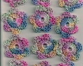Lot of 12 pastel multi color Handmade Crochet Flowers for Crafts