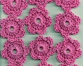 New Valentines Day Pink Handmade Crochet Flowers for Crafts