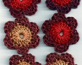 6 Flowers Mixed Lot of Handmade Crochet Flowers for Crafts