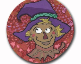 Scarecrow in Purple Hat Polymer Clay Cane Sillly Milly Large