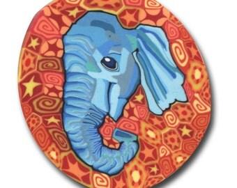 Blue Elephant- Silly Milly Polymer Clay Cane