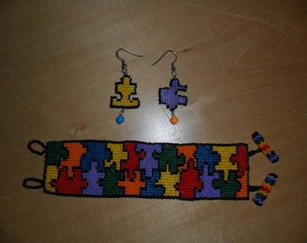 autism awareness bracelet and earrings