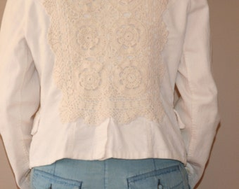 Chic Cream Cord Blazer with DIY Crochet and Feather Embellishment-Size M
