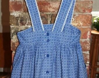 SALE- Blue & White Printed Sundress -Size S