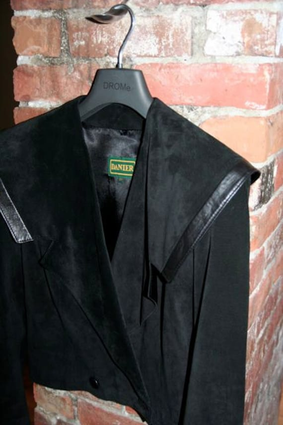 Absolutely Gorgeous Vintage 80's Black Suede Jacket with Sailor Collar- Size S/M