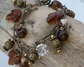 Acorns On Brass Chain Charm Bracelet