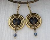 Steampunk Brass Button Black Pearl Earrings