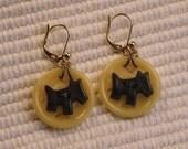 Vintage Button Earrings Scottie Dogs