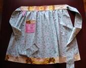 modern vintage half apron (blue and pink)