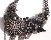 Vintage Collage in Gunmetal with Rhinestones by Ashlee Collection on Etsy