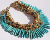 Heart of the Lion- Turquoise and Vintage Gold Chain Necklace by Ashlee Collection on Etsy