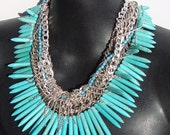 Heart of the Lion- Turquoise and Silver Chain Necklace by Ashlee Collection on Etsy