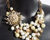 Elegant Gumballs- Beautiful Vintage Flower and Pearl Bib Necklace