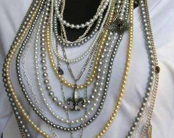 Grey Skies-  Vintage Faux Pearls and Vimtage Charm Necklace by Ashlee Collection on Etsy