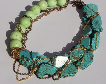 Thoe- Turquoise Slabs and Chain Necklace by Ashlee Collection on Etsy