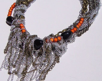 Harlow- Tangled Chain Necklace with Gemstones