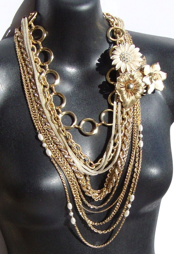 Victoria- Repurposed Vintage Chain and Finding Necklace by Ashlee Collection on Etsy