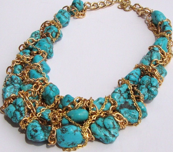 Camille- Tangled Vintage Gold Chain and Turquoise Gemstones by Ashlee Collection on Etsy