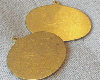 Vintage Raw Brass Oval Pendant/Tag (2) Die-stamping