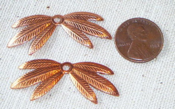 Vintage Copper-plated leaf base/beadcap (8) Steampunk