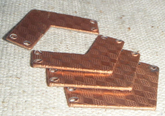 VINTAGE Copper Plated Steel Chevron Connector (4) Patina