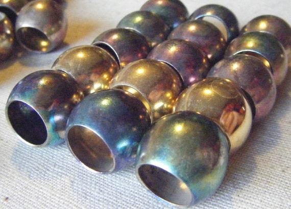Vintage Mega 20mm Pony Bead - Solid Brass with Rainbow Patina, Art Deco (12)