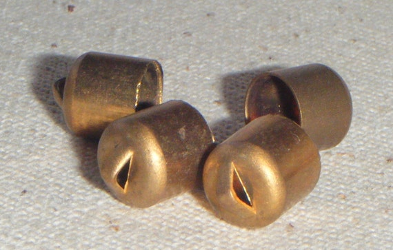 Vintage Medium Raw Solid Brass End Cap with hole (10) Steampunk Patina