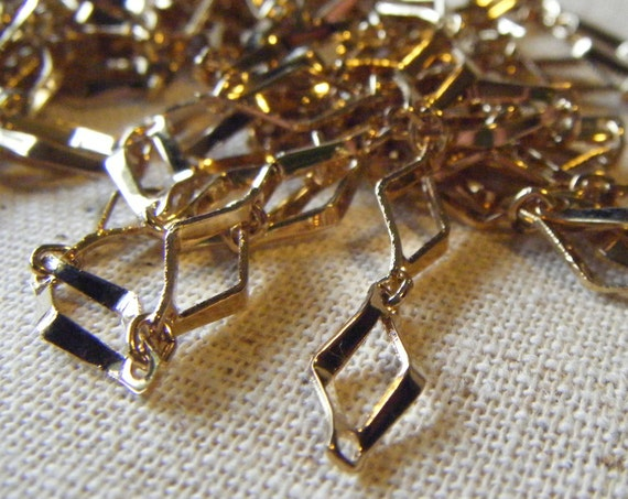 """Gold Plated Steel Vintage Chain Section (24"""") Geometric, Retro, Art Deco"""