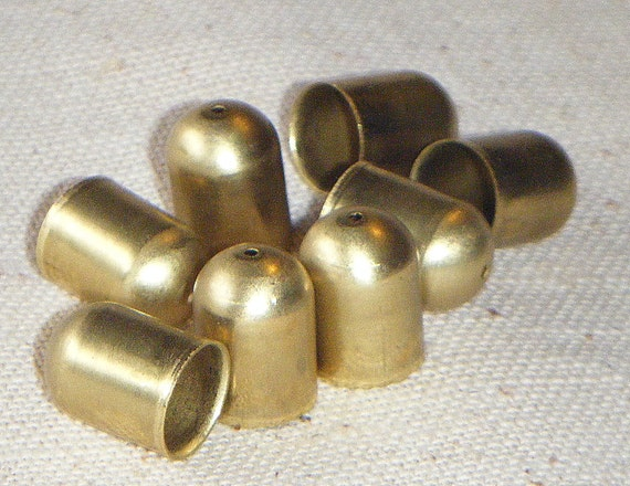 Vintage Deep Solid Brass Rounded End Cap (8) w/Hole Steampunk