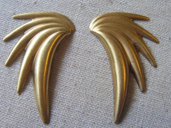 Solid Raw Brass Wings, Feathers, Angel, Stamping (2) Deco, Retro, Steampunk