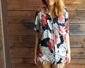 vintage lightweight vacation floral print blouse