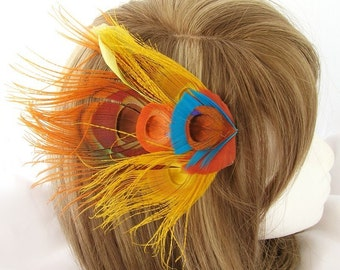 Orange feather fascinator in blend with yellow, aqua blue goose feathers - SHERBERT design - CHOOSE headband, hair comb, or hair clip