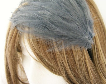 Grey  feather fascinator blank Base (5 fastner option) Derby feather cap,fascinator for mardi gras, kentucky derby, or tea party