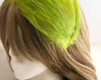 Clover Green feather fascinator blank Base (5 fastner option) Derby feather cap,fascinator for mardi gras, kentucky derby, or tea party
