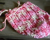 DISCOUNTED Crocheted Market / Produce Bag  Medium Size with Scrap: Bright Pink Raspberry and White