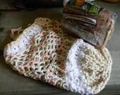 DISCOUNTED Crocheted Market Tote Bag  Medium Size Mixed Color White, Peach, Avocado