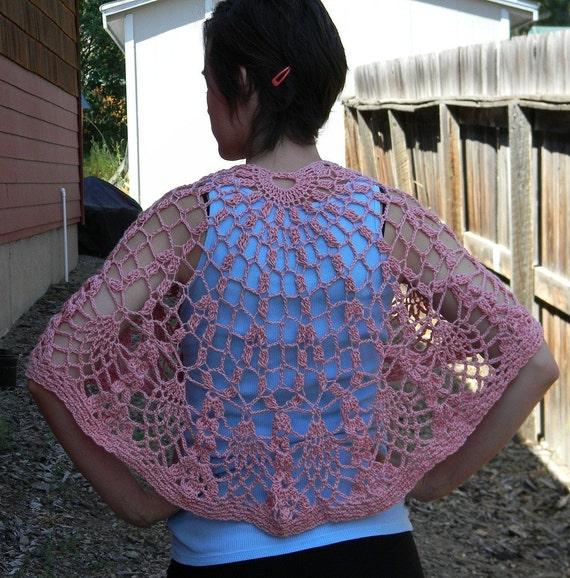 DISCOUNTED Crocheted Shawl in a Pink Bamboo Yarn