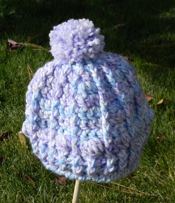 DISCOUNTED Child Size Crocheted Hat Pom Pom