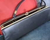 Vintage Black Leather Purse with Handle