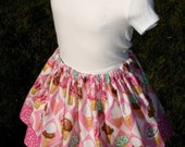 Ice Cream Cones n' Polka Dots Twirly Whirly Girly Skirt (size 2-3T)