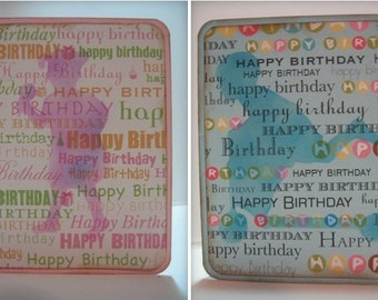 Handmade Birthday Card- Set of 2 one for a girl and one for a boy