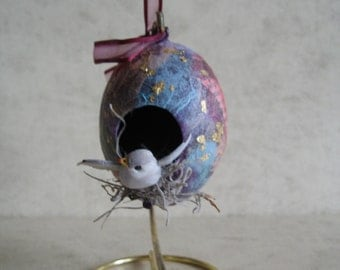 Decoupage Gourd Ornament Birdhouse with stand - 50% off