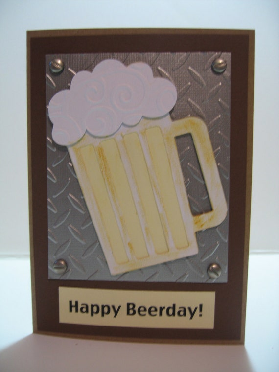 Handmade Birthday Cards For Guys 18 ~ Handmade birthday cards for guys beer metal look happy