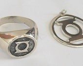 SOLID SILVER 925 GREEN LANTERN RING ALL SIZE AND GREEN LANTERN HAND MADE PENDANT