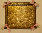 Antique Stamped Brass Footed Victorian Dresser Tray
