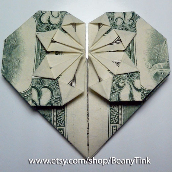 dollar origami two dollar heart