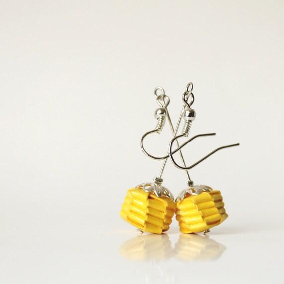 Paper earrings - yellow roses