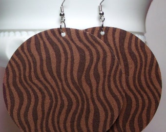 Brown Zig Zag Fabric Large Earrings