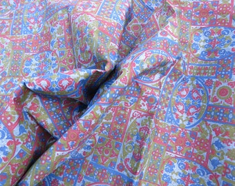 """40s 50s Vintage Fabric - Blue Red and Green Tapestry Print - 6 1/3 yds x 38"""" wide"""